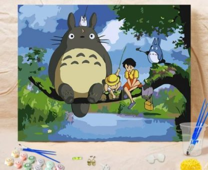 Totoro Fishing_ Paint by Numbers