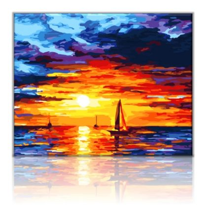 Sailboats in the sunset sea