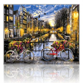Bicycles on Amsterdam Canal | Paint by Numbers Malaysia