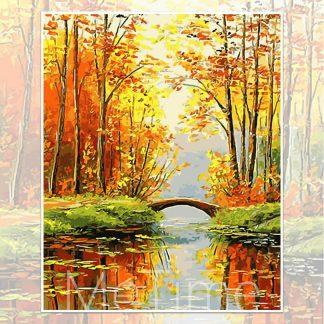 Bridge in the autumn forest